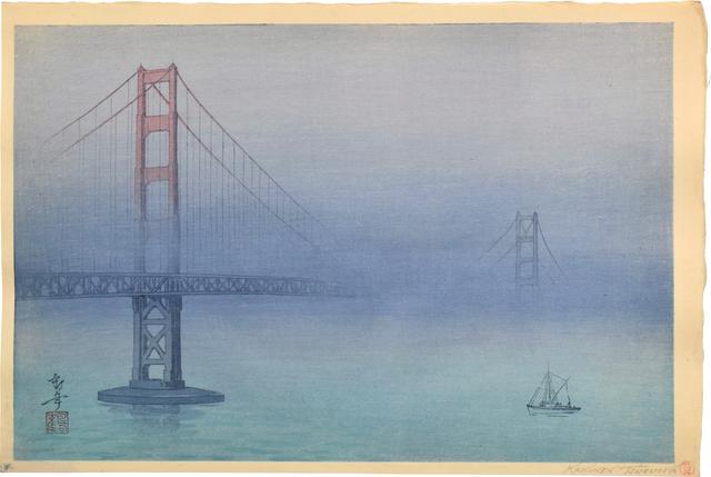 Kakunen Tsuruoka, 'Golden Gate Bridge in Fog (test print)', ca. 1937, Scholten Japanese Art