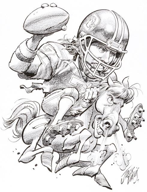 Jack Davis, 'Denver Broncos John Elway NFL Football Illustration; Original Art', 1990, The Illustrated Gallery