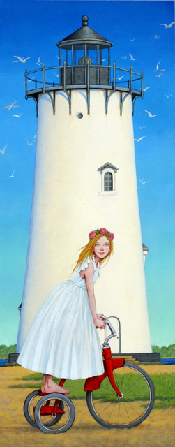 "Fred Calleri, '""Island Princess"" Girl in White Dress on Red Tricycle with Lighthouse', 2010-2017, Eisenhauer Gallery"