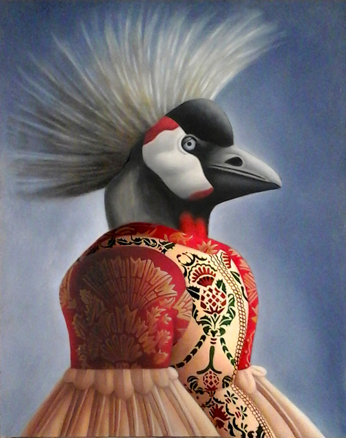Amy Hill, 'Bird with Crown', 2019, Painting, Oil on Board, M.A. Doran Gallery