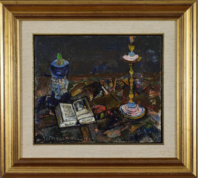 Joseph Pressmane, 'Still Life with Candlestick and Book', 1957, Stern Pissarro