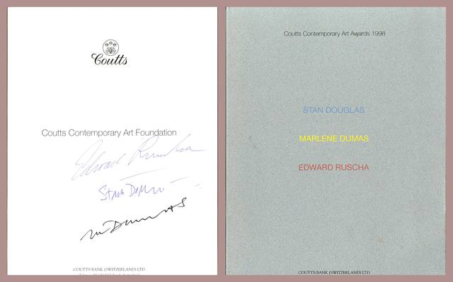, 'Coutts Contemporary Art Awards (Hand Signed by Edward Ruscha, Marlene Dumas, Stan Douglas),' 1998, Alpha 137 Gallery