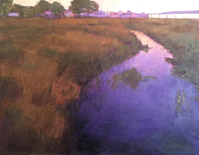 ", '""Purple Rivulet"" oil painting of river through brown grass,' 2019, Eisenhauer Gallery"
