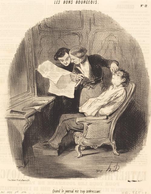 Honoré Daumier, 'Quand le journal est trop intéressant', 1846, National Gallery of Art, Washington, D.C.