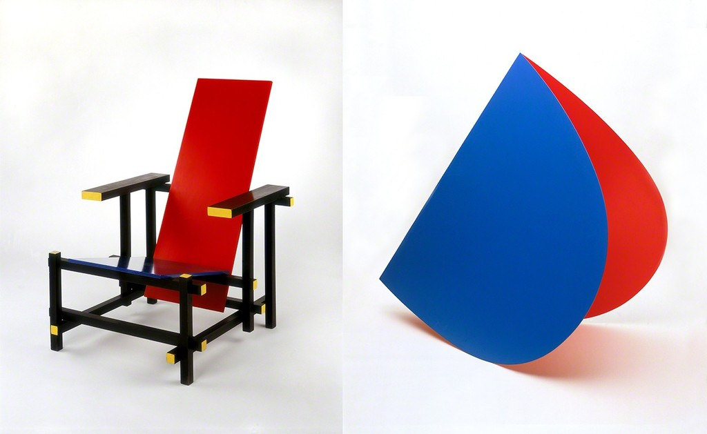 Right: Gerrit Rietveld, Red and Blue Chair, 1919/1950, coll. Stedelijk Museum Amsterdam