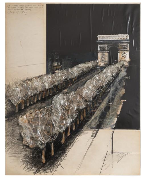 , '380 Wrapped Trees (Project for Avenue des Champs Elysées and Rond Point des Champs Elysées Paris),' 1969, Repetto Gallery