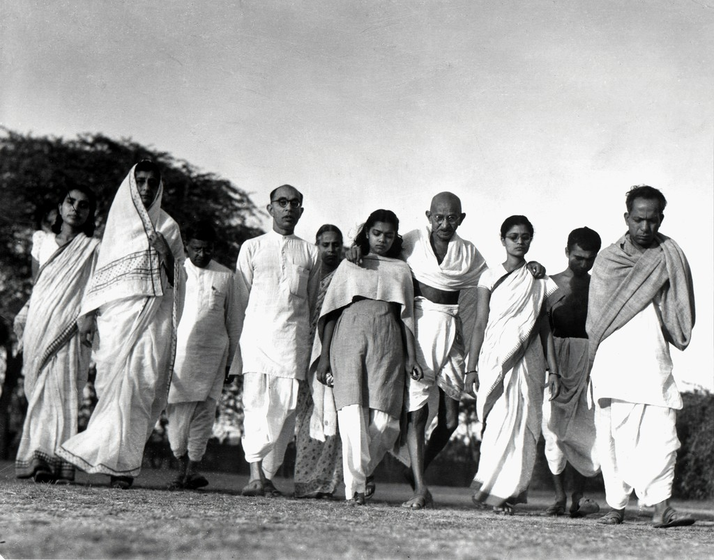 Gandhi's morning walk with close advisors and family members