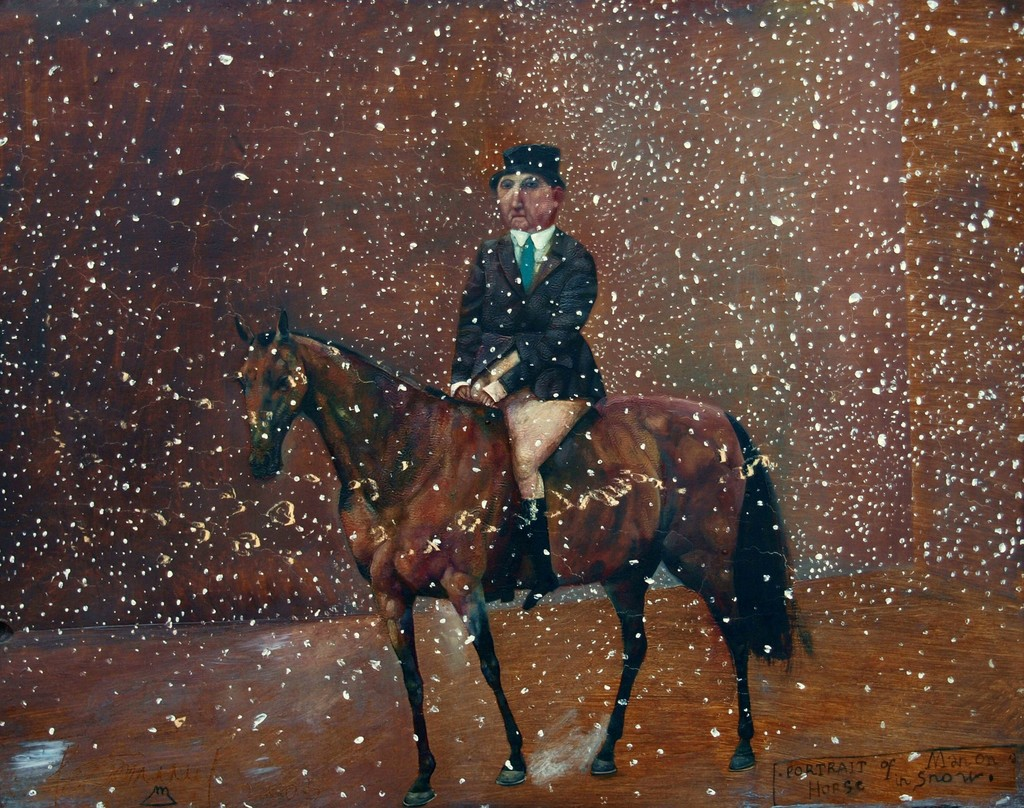Konstantin Bessmertney - Man on Horse in the Snow, oil on wood, 32.5 x 35.5 cm