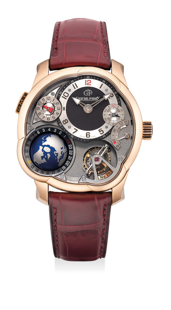 Greubel Forsey, 'A superlative and unusual pink gold worldtime and dual-time wristwatch with power reserve indication, tourbillon regulator, warranty and box', Circa 2013, Phillips