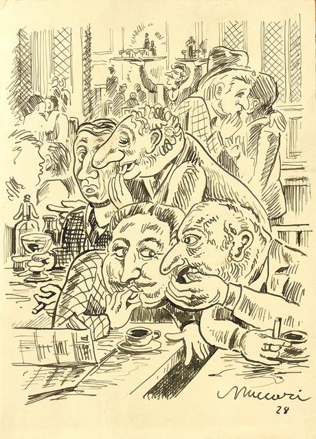 Mino Maccari, 'Cafe', 1928, Ink on paper, Bertolami Fine Arts