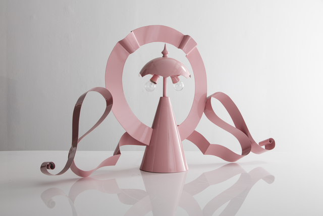 ", '""MGM Lamp"" in pink painted metal,' 1980-1989, R & Company"