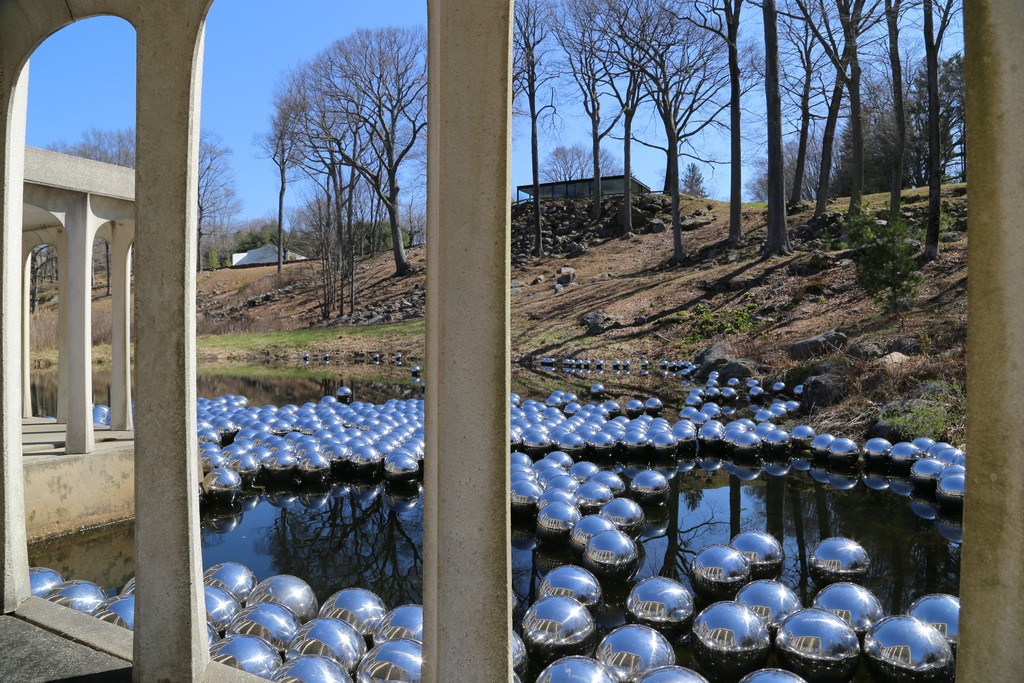 "Installation view of ""Yayoi Kusama: Narcissus Garden"" at Glass House, New Canaan (2016). Photo credit ©KUSAMA Studio"