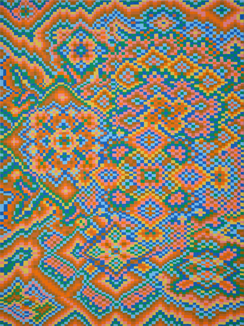 , 'Orange/Blue Grid #4,' 2017, Asya Geisberg Gallery