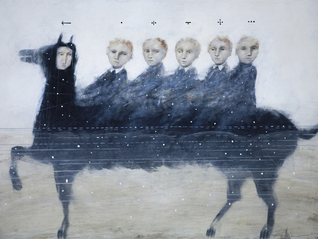 Alexey Terenin, 'Riders In The Information Flow', 2018, Painting, Canvas/Oil, Art Gallery Tolstoy