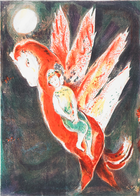 Marc Chagall, 'Then the old woman mounted the Ifrit's back, pl. 7 from Four Tales from the Arabian Nights', 1948, Print, Lithograph in colors, Rago/Wright