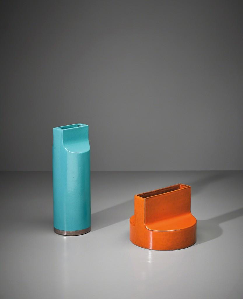 Two 'Fischietto' vases, model nos. 592 and 594, from the 'Ceramiche a colaggio' series