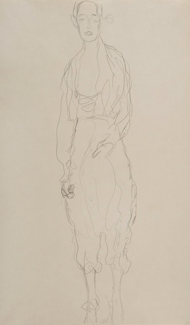 Gustav Klimt, 'Portrait d'une femme debout en pantalon', 1916-1918, Drawing, Collage or other Work on Paper, Pencil on paper, HELENE BAILLY GALLERY