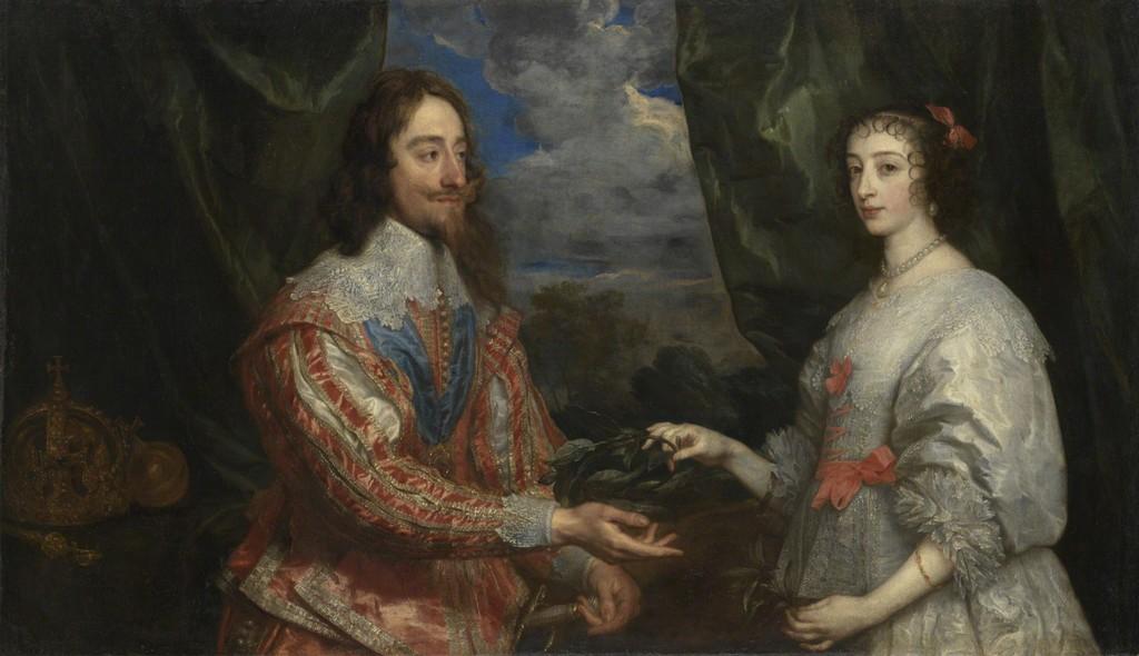 Anthony van Dyck (1599–1641) Charles I and Henrietta Maria Holding a Laurel Wreath, 1632 Oil on canvas Arcibiskupský zámek a zahrady v Kroměříži, Kroměříž