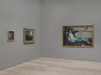 "Installation view of ""Human Interest: Portraits from the Whitney's Collection"" (April 27, 2016-Feb 12, 2017, Whitney Museum of American Art, N.Y.). From left to right: Alice Neel, ""Elsie Rubin"", 96.244, Georges Schreiber, ""Portrait of Thomas Hart Benton"", 2009.57 ;Robert Henri, ""Gertrude Vanderbilt Whitney"", 86.70.3"