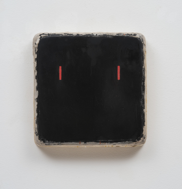 , 'Black Square with Short Red Lines,' 2016, Barry Whistler Gallery