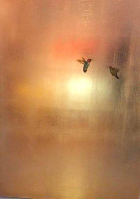 Carolyn Reynolds, 'Two Hummingbirds in Soft Gold', 2018, Dawson Cole Fine Art