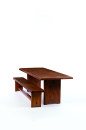 Set of T14 dining table and S14 bench in elm