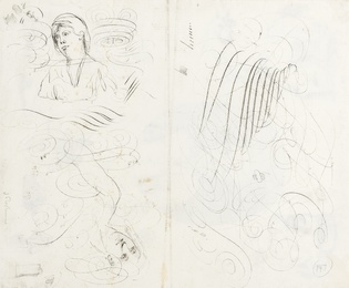 An oval half-length portrait of a gentleman, surrounded by head and figure studies (recto); calligraphic pen studies intertwined with three heads (verso)