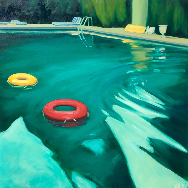 ", '""Swimming Pool"" Dark Teal pool in Evening Light with Orange and Red tubes,' 2010-2018, Eisenhauer Gallery"