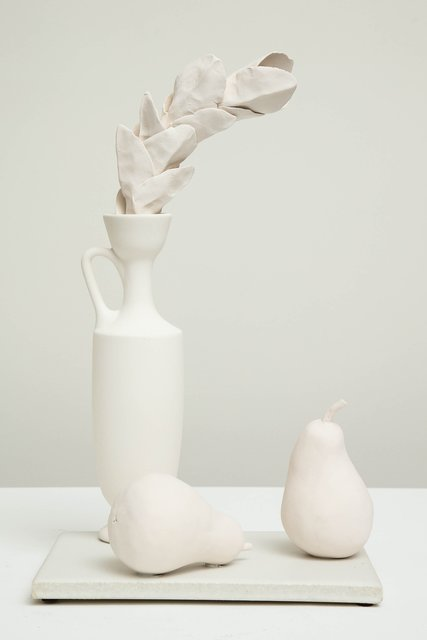 , 'Still Life in White with Lekythos, Branch, and Two Pears,' 2017, Hostler Burrows