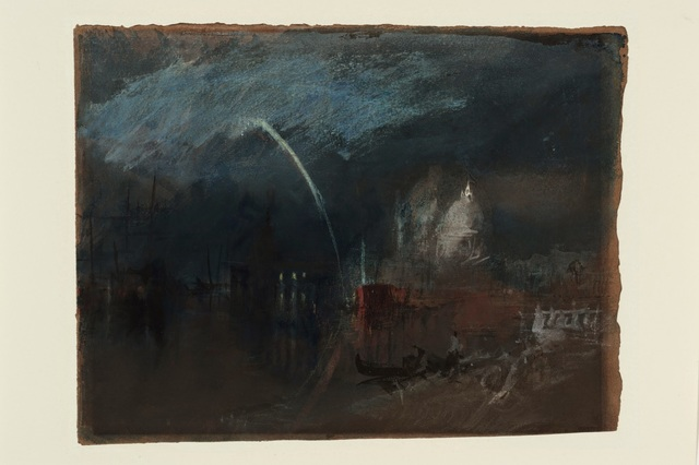 , 'Venice: Santa Maria della Salute, Night Scene with Rockets,' 1840, de Young Museum
