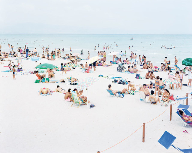"""Massimo Vitali, '03 Cagliari Blue Rectangle from """"A Portfolio of Landscapes With Figures""""', 2006, Photography, Lithograph, IFAC Arts"""