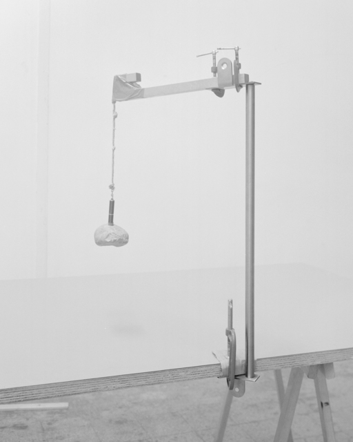 , 'Reinterpretation of the vertical pendulum seismograph created by Don Andrea Bina in the mid 1700s. Laser, stone and Ikea furniture.,' 2015, MATÈRIA