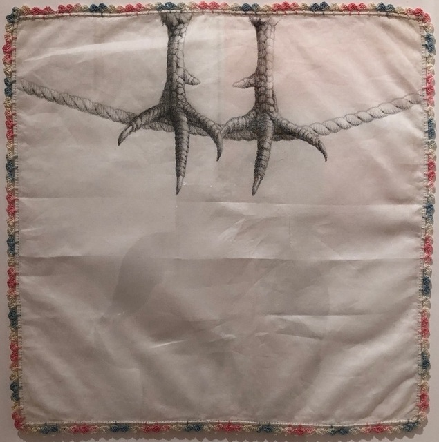 Constance Edwards Scopelitis, 'God is in Clean Laundry: Chicken Feet', 2019, Drawing, Collage or other Work on Paper, Carbon on vintage handkerchief, Garvey | Simon