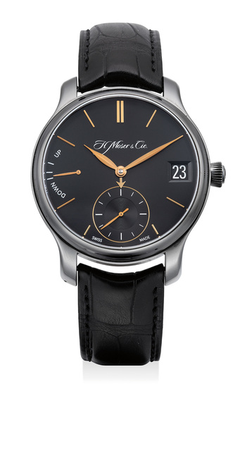 Moser & Cie, 'A fine and attractive DLC-coated titanium perpetual calendar wristwatch with date, power reserve indicator, certificate and box', Circa 2014, Phillips