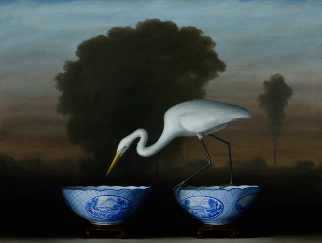 , 'Egret and Blue Bowls,' 2017, Lisa Sette Gallery