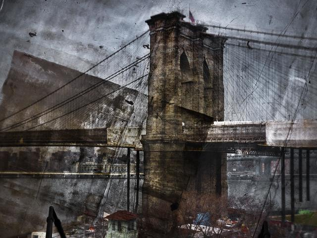 , 'Tent-Camera Image on Ground: Rooftop View of the Brooklyn Bridge, Brooklyn Side,' 2011, Huxley-Parlour