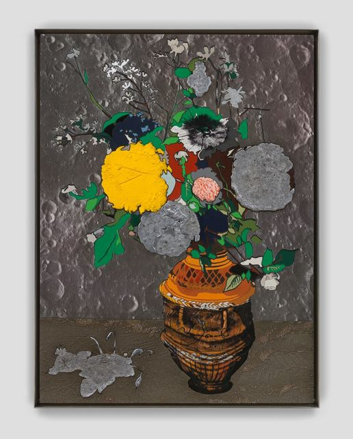 Matthew Day Jackson, 'Flowers in a sculpted vase ', ca. 2019, Painting, Formica, silkscreen, acrylic paint on epoxy resin, oil paint, lead on panel, stainless steel frame, Hauser & Wirth