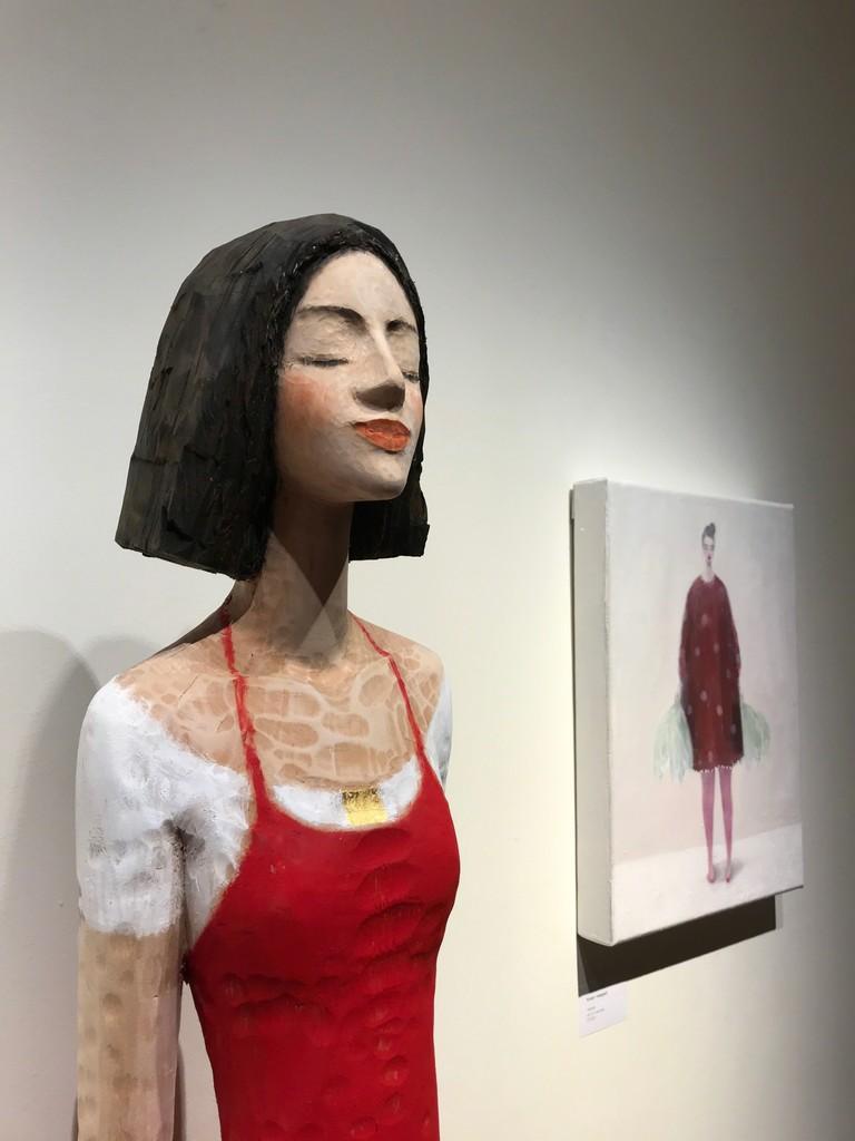 Michael Pickl sculpture and Kristin Vestgård painting.