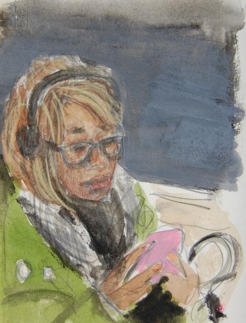 , 'Headphones, Green Coat, Pink Phone,' 2018, Ground Floor Gallery