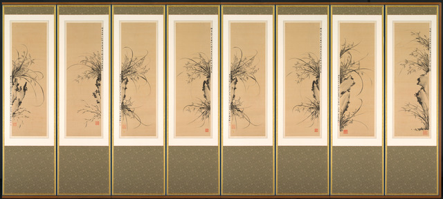 Yi Ha-eung, 'Orchids and Rocks', 1897-98, Eight-panel folding screen; ink on silk, Cleveland Museum of Art