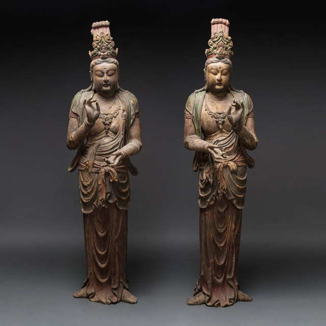 , 'Pair of Lacquered Wooden Sculptures of Bodhisattvas,' 1500 AD to 1800 AD, Barakat Gallery