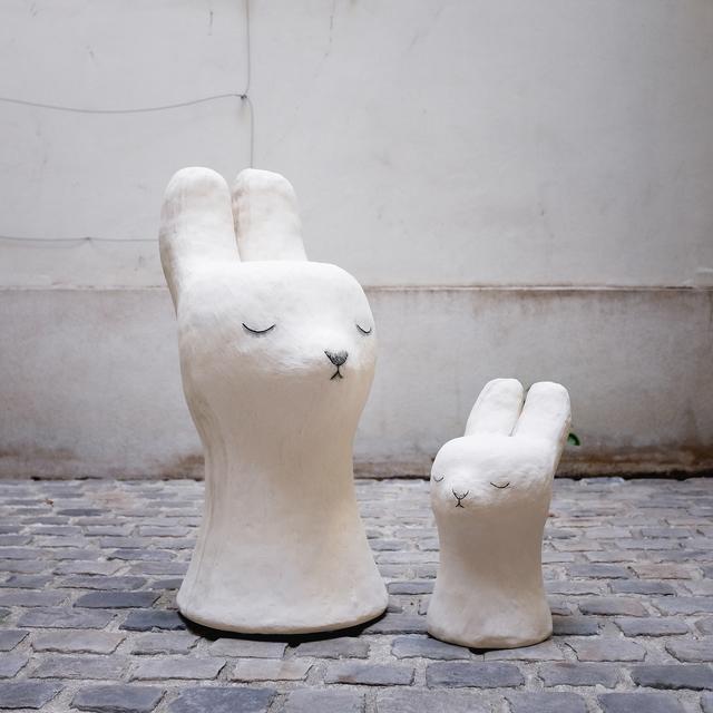 , 'Bunny stools,' 2018, Antonine Catzéflis