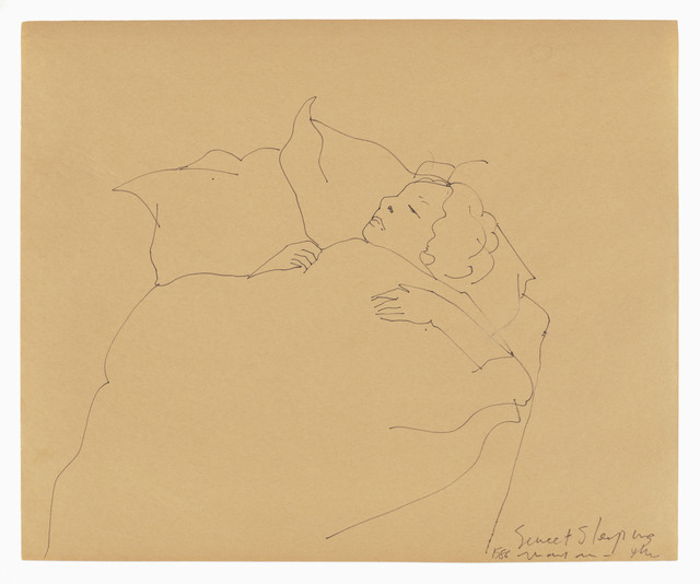 Hannah Wilke, 'Sweet Sleeping Mayan', 1986, Drawing, Collage or other Work on Paper, Ink drawing on newsprint, LaiSun Keane
