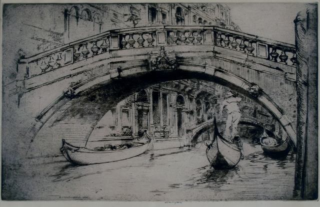 Donald Shaw MacLaughlan, 'Under Formosa's Bridge, Venice', 1922, Print, Etching, Private Collection, NY