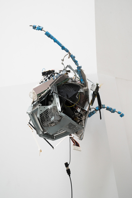 Joachim Coucke, 'Dwellers XIII', 2019, Sculpture, Plastic basket, flatscreen wall mount, laptop cooling pad, various computer / laptop components and cables, metal, plastic parts and hardware, Tatjana Pieters