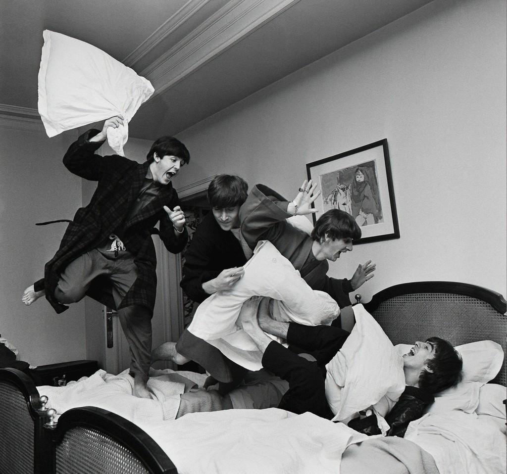 Image result for Beatles Pillow Fight, George V Hotel, Paris, 1964