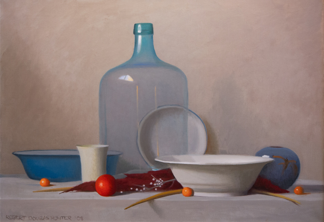 Robert Douglas Hunter, 'Arrangement with a Clear Glass Bottle', 2003, Painting, Oil on canvas, Lily Pad West