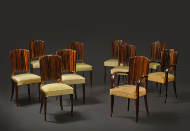 "Émile Jacques Ruhlmann, 'Eight ""de Becker"" Side Chairs, model 84 NR and Two ""Lecannelé"" Armchairs, Model 129 NR, variant,' circa 1929, Sotheby's: Important Design"