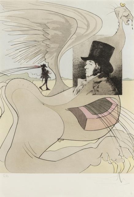 Salvador Dalí, 'Portrait of Goya (from Les Caprices de Goya de Dali) (M & L 848b; Field 77-3-80)', 1977, Print, Etching with pochoir printed in colours, on Rives paper, Forum Auctions