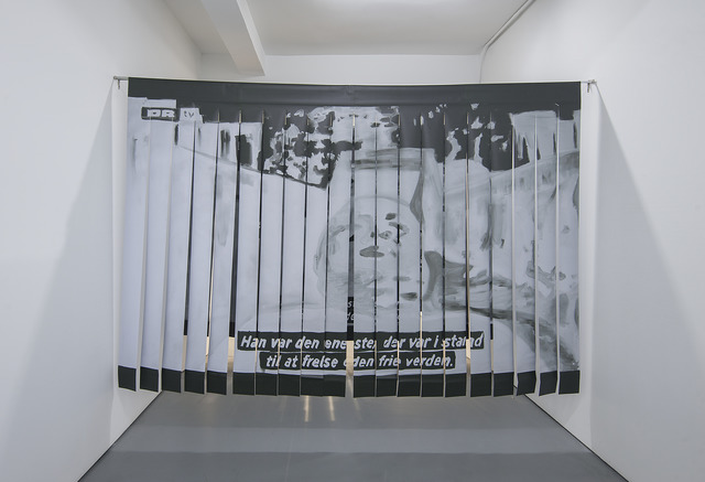 Babak Golkar, 'If you're going through hell, keep going. Churchill', 2017-2019, Installation, Ink on vynil, metal rods, Sabrina Amrani